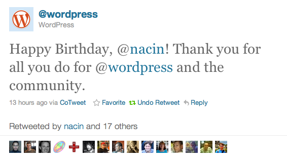 Tweet from @wordpress: Happy Birthday, @nacin! Thank you for all you do for @wordpress and the community.